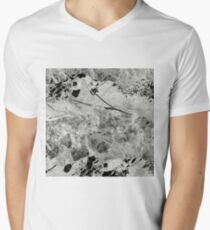 Layers Of Contrast - Black And White Abstract Mens V-Neck T-Shirt