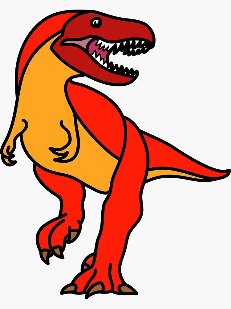 Tyrannosaurus Rex Dinosaur Red Orange Artwork by BOLD-Australia