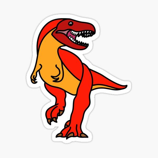 Tyrannosaurus Rex Dinosaur Red Orange Artwork Sticker