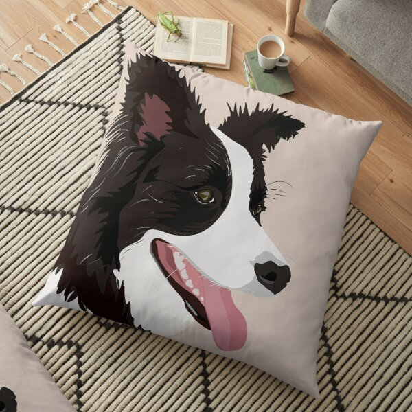 Happy Border Collie Floor Pillow