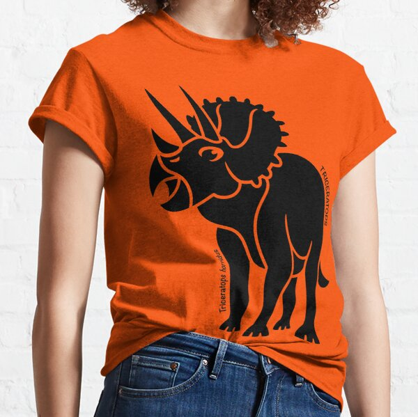 Triceratops Dinosaur Silhouette with Name Artwork Classic T-Shirt