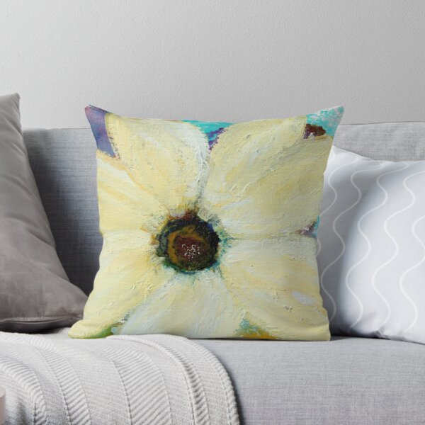 WINTER WHITE FLORAL Throw Pillow