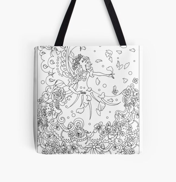 Spring fairy bringing in spring flowers-colorable design All Over Print Tote Bag