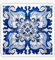 Antique Azulejo Tile Floral Pattern Sticker