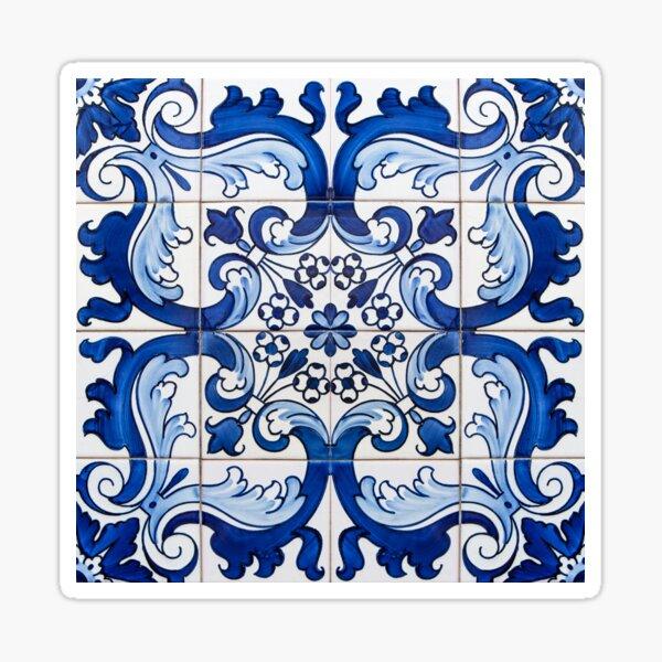 Antique Classic Lisbon Blue Azulejo Tile Floral Pattern Sticker