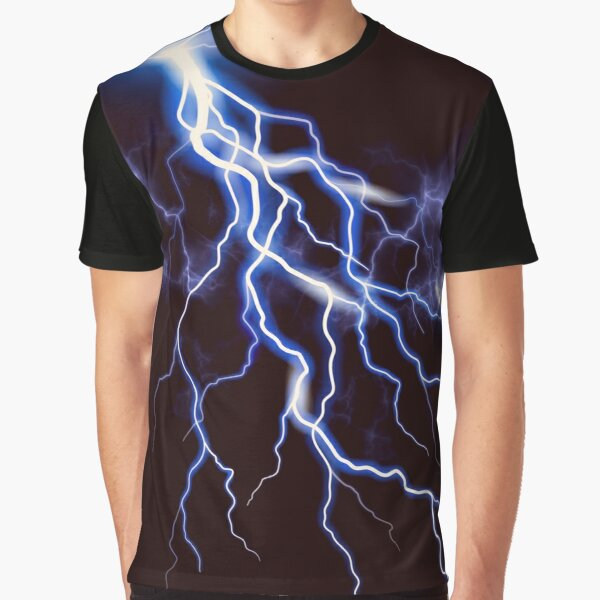 Blue Thunder Colorful Lightning at night, Left HR graphic Graphic T-Shirt