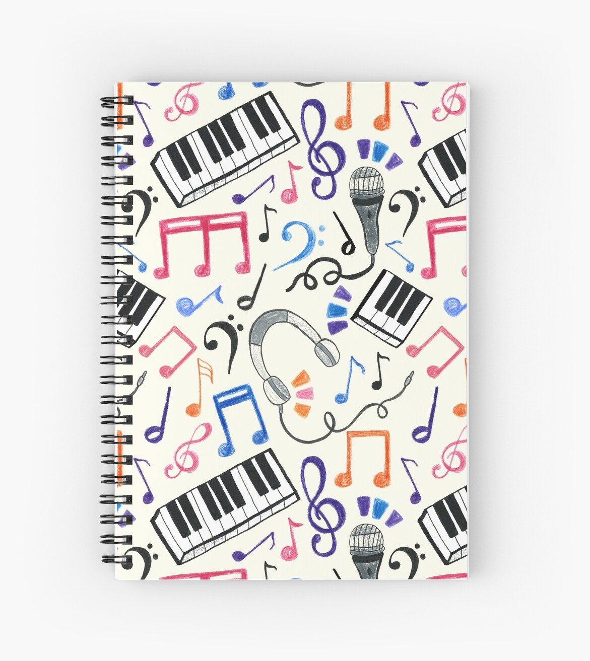 Good Beats Music Notes Symbols Spiral Notebooks By Tangerine