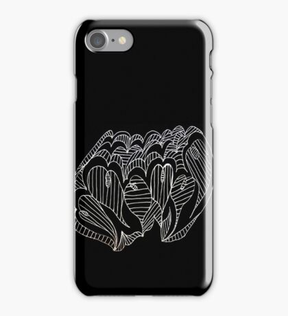 White Lined Hearts iPhone Case/Skin