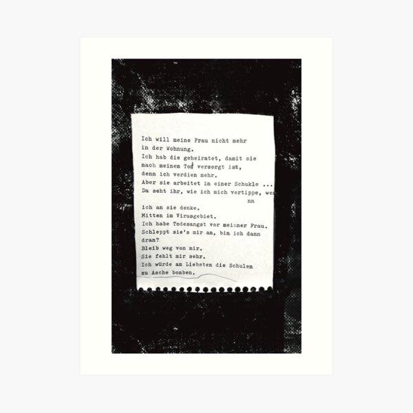 Ich will meine Frau nicht mehr in der Wohnung ... Gedicht 6 - Lockdown, ein C-Movie Kunstdruck
