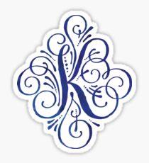 Monogram Watercolor Calligraphy Letter K Sticker