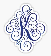 Monogram Watercolor Calligraphy Letter K Sticker