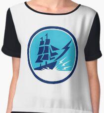 Tall Sailing Ship Lightning Bolt Circle Women's Chiffon Top