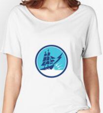Tall Sailing Ship Lightning Bolt Circle Women's Relaxed Fit T-Shirt