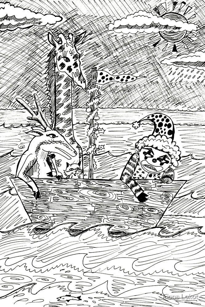 Angry Clown Trapped On A Boat With Giraffe, Reindeer And Cat by Fiona Lokot