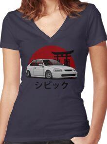 Civic EK (white) Women's Fitted V-Neck T-Shirt