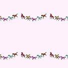 Parade of horses, pegasus and unicorn by Fiona Lokot