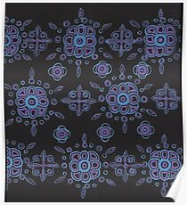 blue and mauve pattern on black Poster