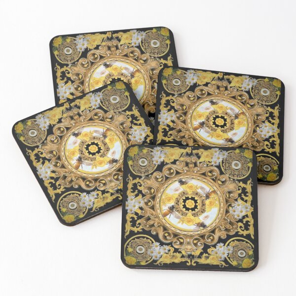 yellow rose  and bees vintage kitsch  baroque scarf iphone case  digital bag print  designed by mysticladyart  Coasters (Set of 4)