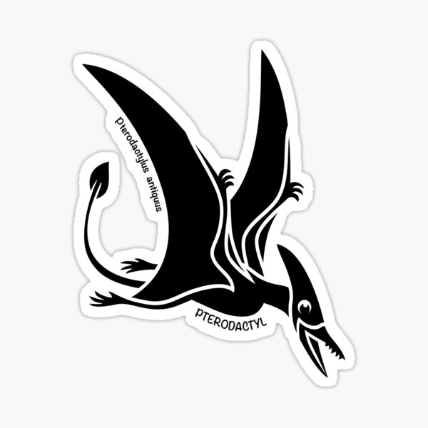 Pterodactyl Dinosaur Silhouette with Name Artwork Sticker