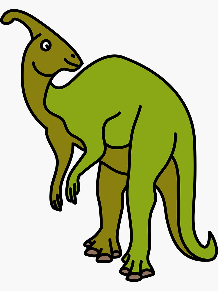 Parasaurolophus Dinosaur Coloured with Name Artwork by BOLD-Australia
