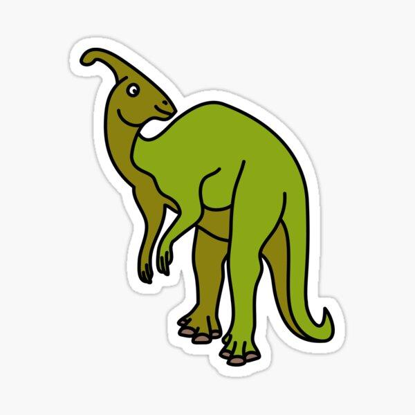 Parasaurolophus Dinosaur Coloured with Name Artwork Sticker