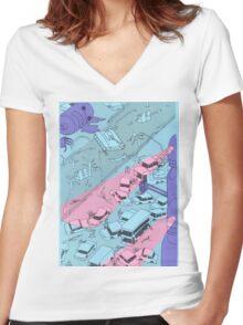 Alien Robot Attack Women's Fitted V-Neck T-Shirt