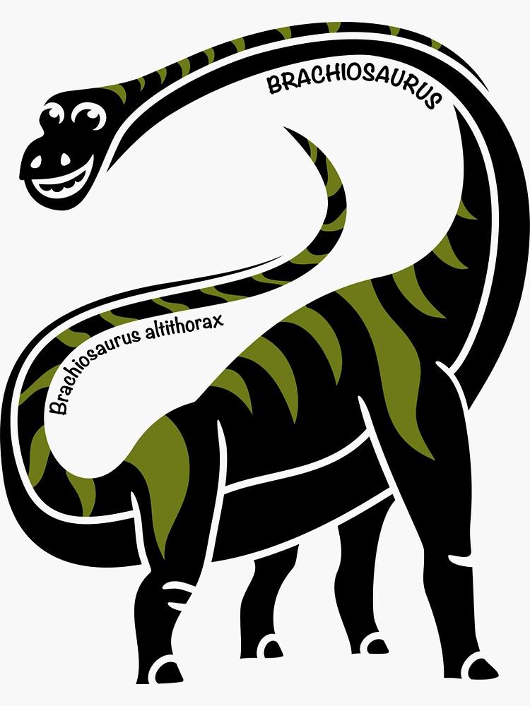 Brachiosaurus Dinosaur Green Silhouette with Name Artwork by BOLD-Australia