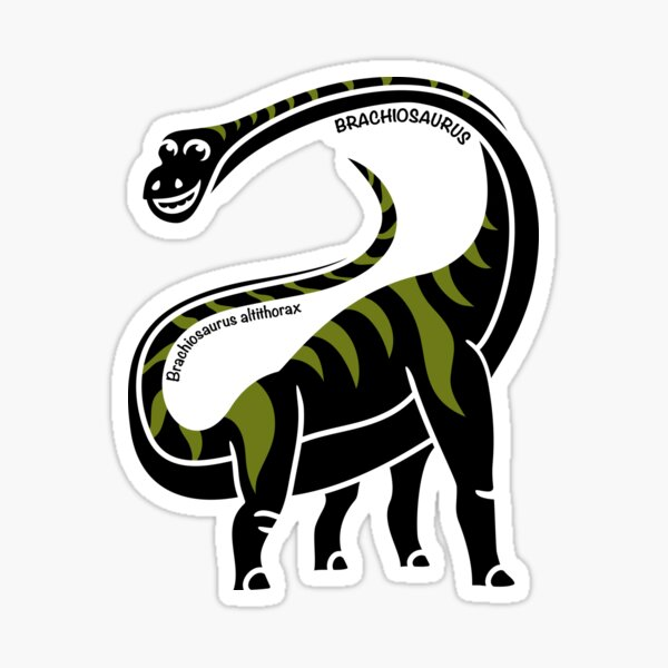 Brachiosaurus Dinosaur Green Silhouette with Name Artwork Sticker