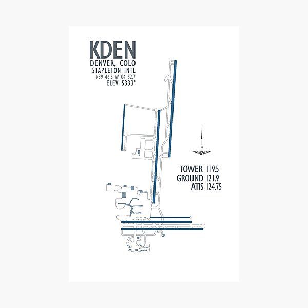 Denver Stapleton International Airport Diagram Photographic Print