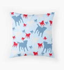 Borders in Silhouette - Red, Blue, Grey Throw Pillow