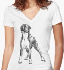Boxer Dog Drawing Women's Fitted V-Neck T-Shirt