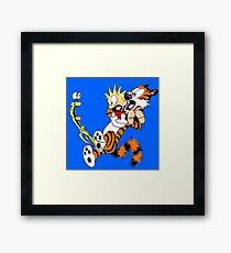 calvin and hobbes shocked Framed Print