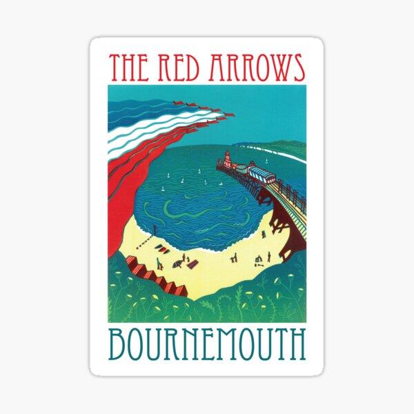 Red Arrows, Bournemouth - Original Linocut by Francesca Whetnall Sticker