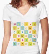alphabet   Women's Fitted V-Neck T-Shirt