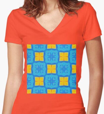 Yellow Blue DeepDream Pattern Women's Fitted V-Neck T-Shirt