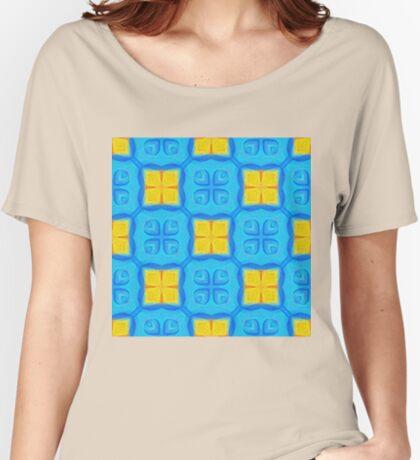 Yellow Blue DeepDream Pattern Women's Relaxed Fit T-Shirt