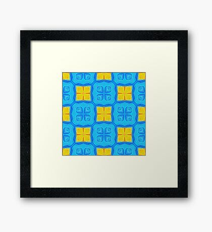 Yellow Blue DeepDream Pattern Framed Print