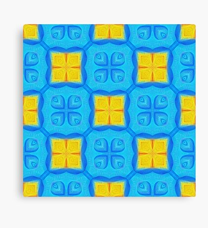Yellow Blue DeepDream Pattern Canvas Print