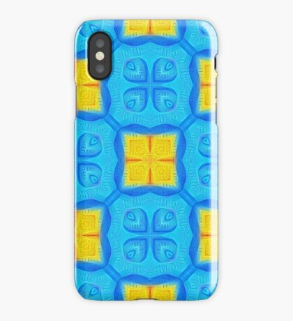 Yellow Blue DeepDream Pattern iPhone Case