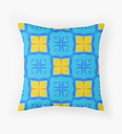 Yellow Blue DeepDream Pattern Throw Pillow