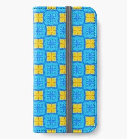 Yellow Blue DeepDream Pattern iPhone Wallet