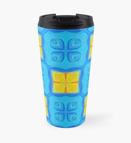 Yellow Blue DeepDream Pattern Travel Mug