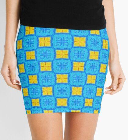 Yellow Blue DeepDream Pattern Mini Skirt