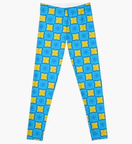 Yellow Blue DeepDream Pattern Leggings