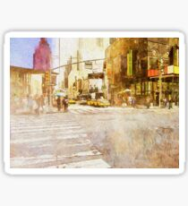 A busy Manhattan street corner painting Sticker