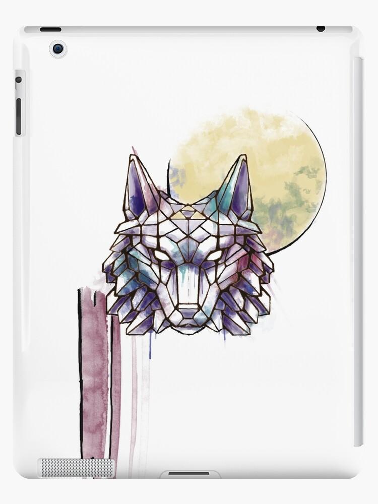 Geometrischer Aquarell-Wolf mit Triforce von SoLander