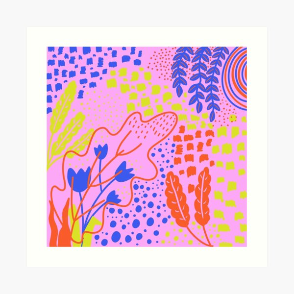 Pink Abstract Floral Pattern Art Print