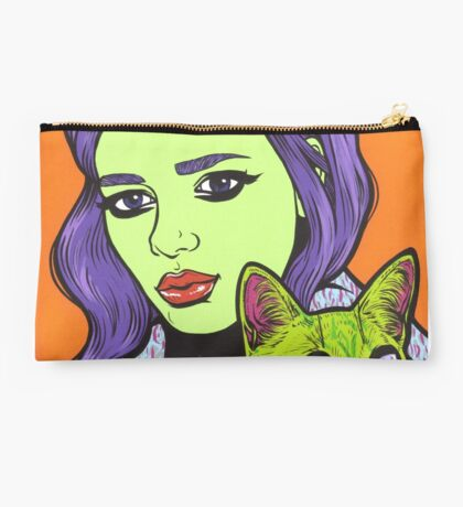 Girl with Cat Studio Pouch