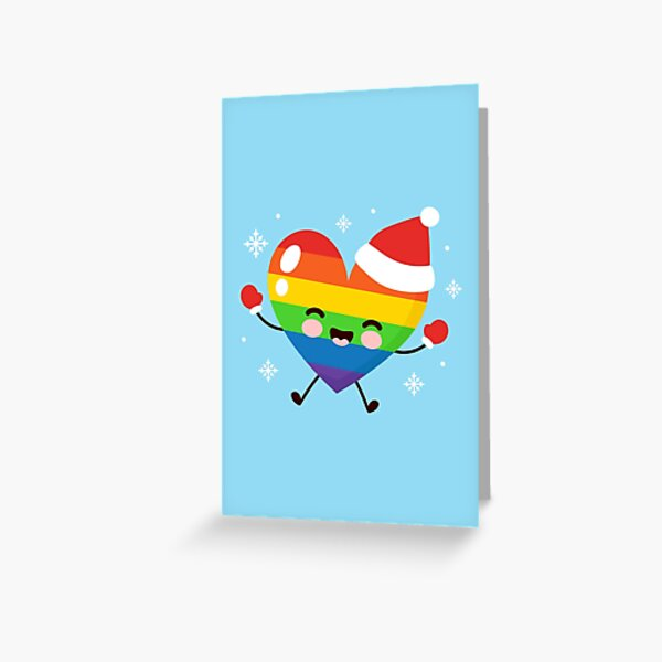 cute happy lgbt christmas hat gloves Greeting Card