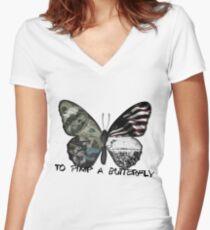 Einen Schmetterling pimpern Shirt mit V-Ausschnitt